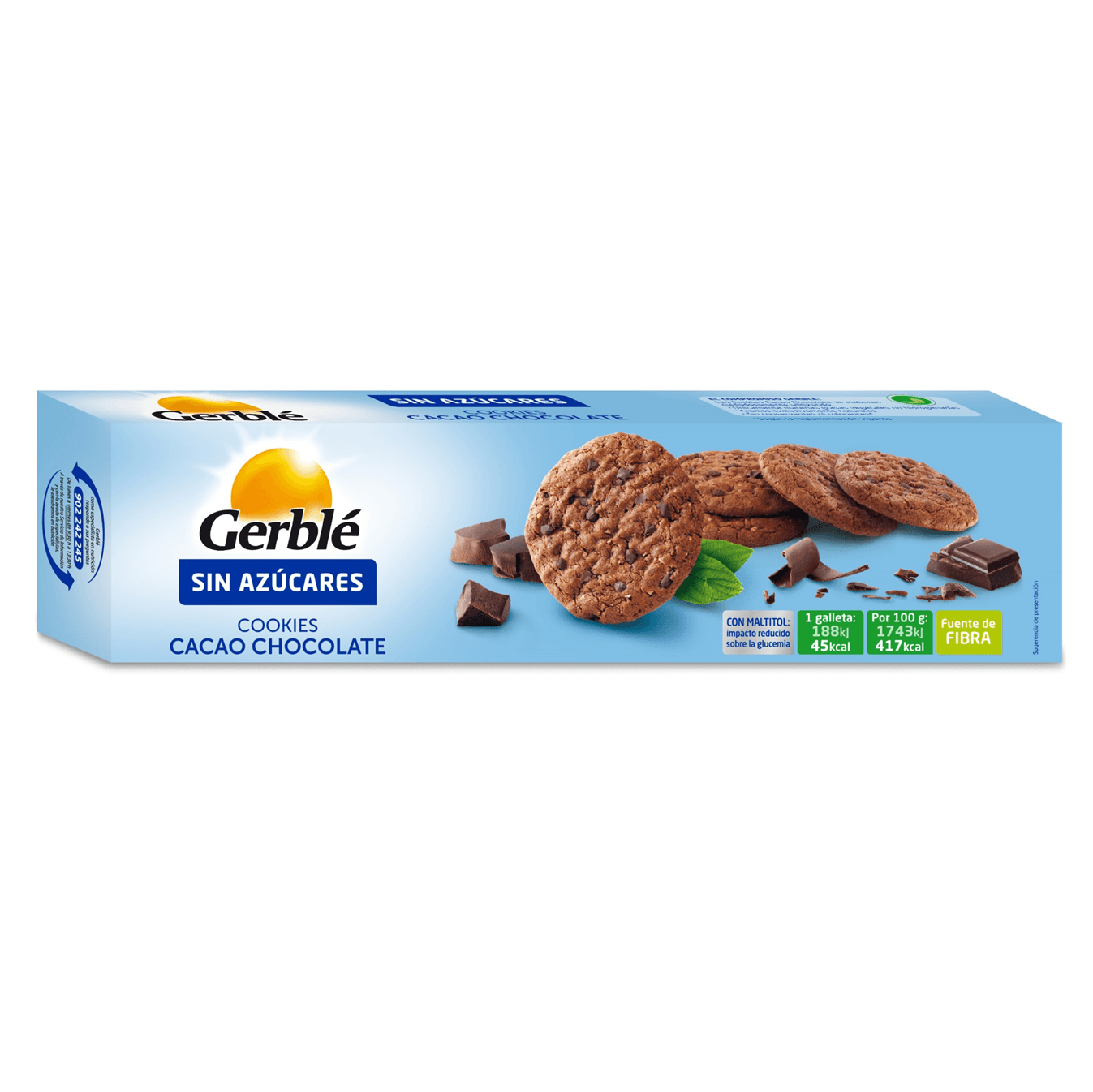 GERBLE Cookies Cacao Chocolate Sin Azúcares