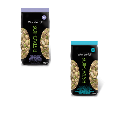 Wonderful Pistachos Roested Unsalted and Salt & Pepper 250g